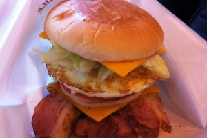 Big Man's famous bacon and egg burger