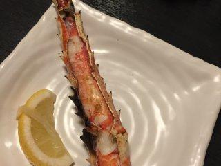 Charcoal grilled crab leg
