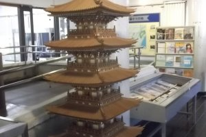 A model of a wooden pagoda
