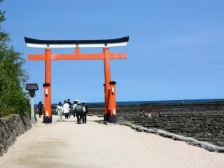 This large red torii marks the way to Aoshima Jinja.
