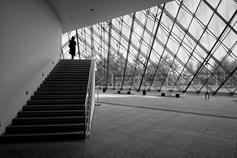 Inside the glass pyramid