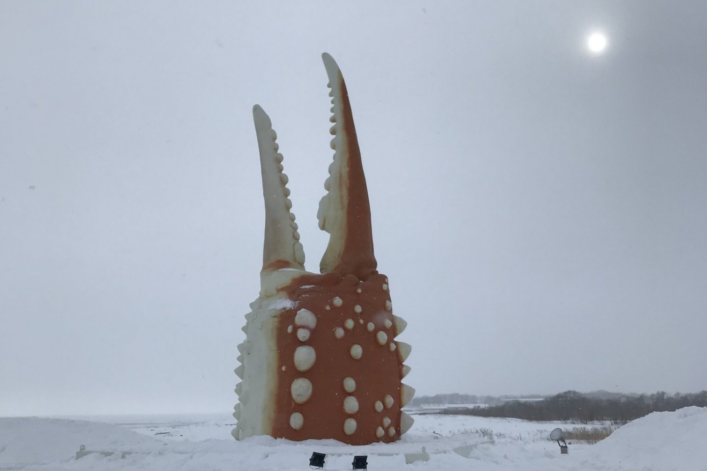 Braving the cold winter air and snow to check out the iconic crab claw