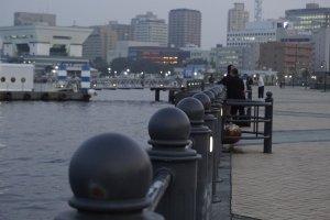 Yokohama waterfront before dark