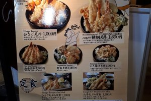 An easy menu. We ordered the Hisago Tendon for 1000 yen.