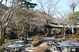 Outside seating area at Ozawa Brewery.