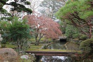 Beautiful garden at Tamura Sake Brewery.