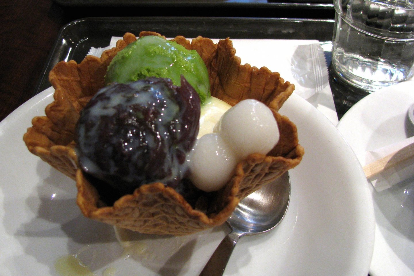 Dessert with ice cream and dango. Note the waffle bowl.