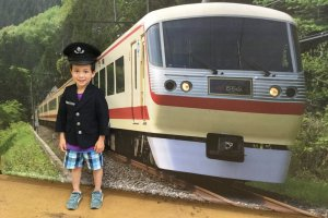 Kids can try on a train conductor's uniform and have photos taken.