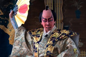 Dramatic makeup is used to great effect in kabuki