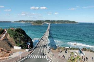 Tsunoshima Ohashi bridge and shining ocean