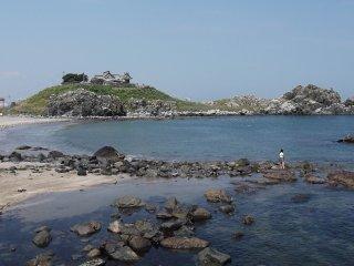 Une vue lointaine sur l'île nous montre le nombre de mouettes ici