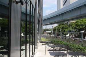Terrace seating beside the lounge/reception area - and partial view of Tokyo Skytree