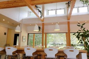 The interior is light and filled with greenery