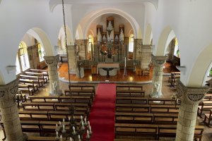 The Oya stone interior of Matsugamine Catholic Church