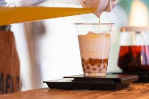 Brown rice bubble tea latte
