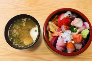 Sashimi served with miso soup