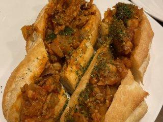 Chili con carne hot dog sandwich