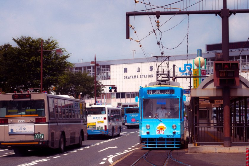 Okayama Station stands proudly at the start of one of Okayama city\'s biggest streets