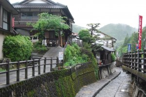 Yunomine's main street is lined with wooden houses