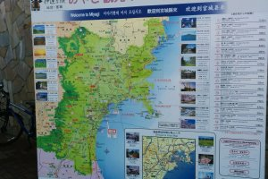 A giant map of the area, including nearby Matsushima where ferries service.