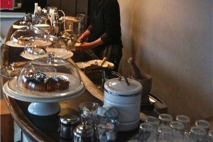 The cafe serves good coffee, with a selection of homemade cakes and quiches.