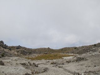 The crater area used to be mined for sulfur