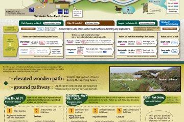 <p>แผนที่เส้นทางเดินในอุทยานและทะเลสาบทั้งห้า ฌิเระโทะโคะ ช่วงเวลาเปิดและปิดป่า และอัตราค่าบริการ ข้อควรระวังในการเดินป่า ฤดูระวังหมีสีน้ำตาล และฤดูระวังระบบนิเวศน์ธรรมชาติ (มี๔ภาษา ญี่ปุ่น อังกฤษ จีน เกาหลี)</p>