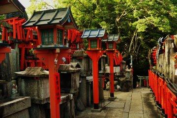 <p>Lanterns at the top shrine</p>