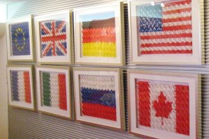 National flags made out of origami cranes