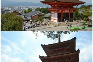 วิวเบื้องหน้าที่สามารถมองเป็นเกียวโตเกือบทั้งเมือง และเบื้องหลังเป็นเจดีย์อันเก่าแก่