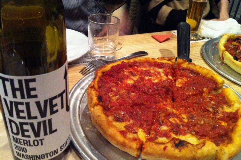 \'The Velvet Devil\' merlot with \'The Big Cheese\' pizza