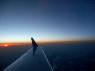 Sunset seen from the aircraft bound for Sendai airport