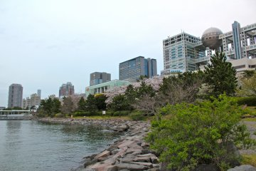 <p>The park offers a quiet cove surrounded by rock, seasonal shrubbery and views of futuristic Odaiba structures.</p>