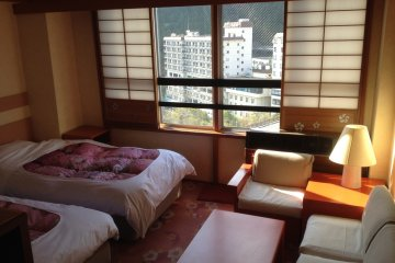<p>The far side of the room -- notice the beautiful view to the not pictured Kinugawa River immediately below</p>