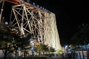 Scary by day, even scarier at night! The wooden coaster, White Cyclone!