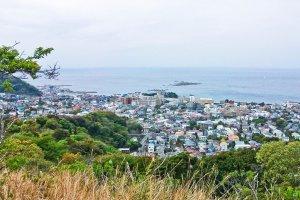 Zushi Bay, (Sagami Bay) as seen from the peak of Mount Sengen