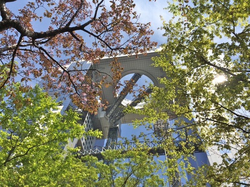<p>Adjacent to the Umeda Sky Building is a small garden that blooms cherry blossoms in April. You can also find a small waterfall and Japanese bridge here.</p>