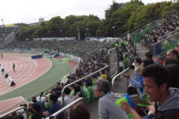 <p>Over there are the &#39;ultra&#39; Bellmare fans, ready to wave their big flags when we score</p>