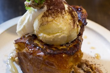 French toast with a scoop of vanilla bean ice cream drizzled in honey and walnuts. Heavenly!