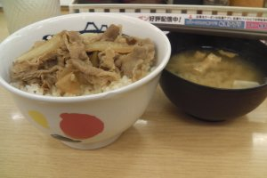 Matsuya's gyudon and miso soup are legendary.