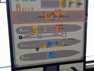 A layout of the ship. A self guided tour will take at least an hour, so be prepared to do some walking.
