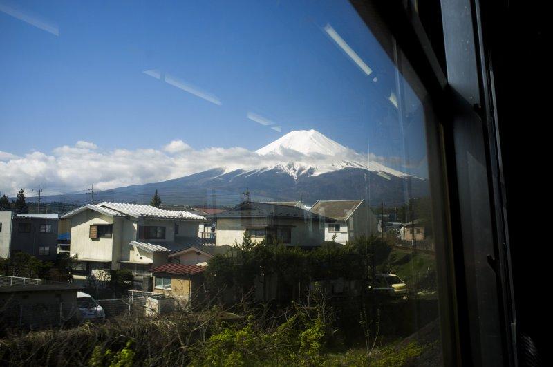 <p>Views of Mount Fuji on the Fujikyu Railway line train.</p>