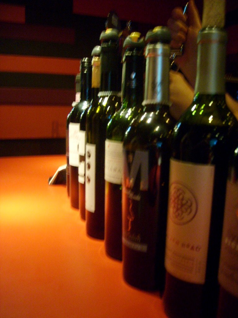 Some wine on the bar, where it belongs