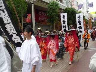 There are many wonderful costumes in the parade, including these young noblewomen. Their male counterparts are dressed as Sendai's founder, Date Masamune.