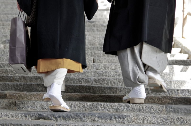 <p>Priests walk up and down the 399 steps everyday</p>