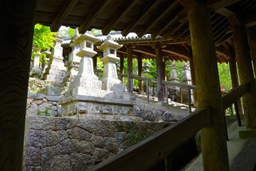 <p>Walking up the 399 stone steps to the main hall</p>