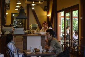 The cafe serves a seasonal menu using fresh, local produce