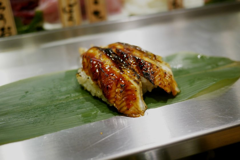 This slightly roasted eel sushi is absolutely outstanding.