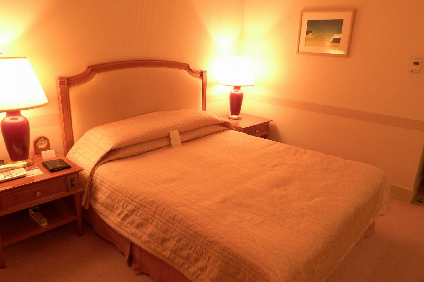 Night-time view of standard double room...how romantic!