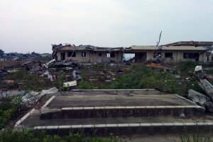 The ruins of the high school destroyed by the tsunami